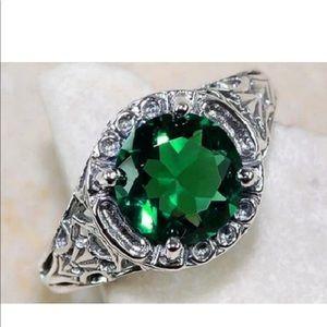 Fashion 1.2CT Emerald 925 Silver Wedding Ring